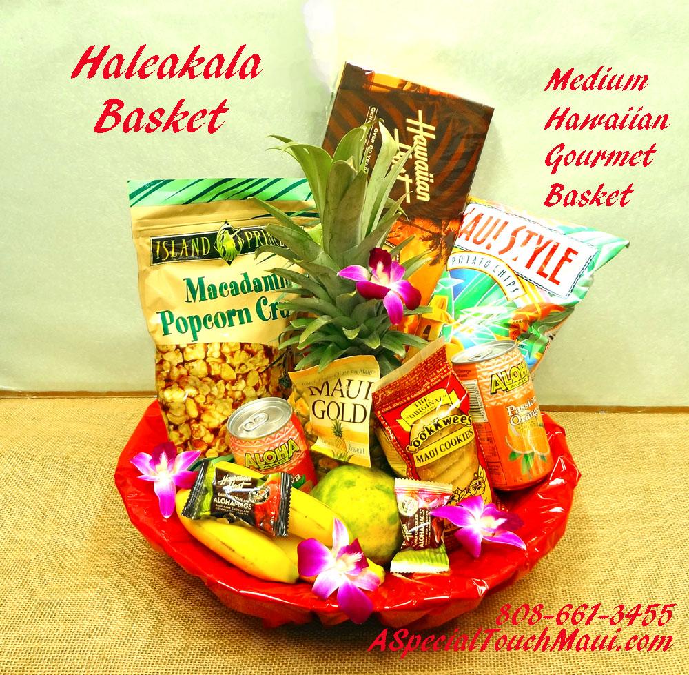 Click Item for Full View( PLEASE ORDER IN ADVANCE) HALEAKALA- MEDIUM SIZED HAWAIIAN FRUIT AND HAWAIIAN GOURMET GIFT BASKET 89.95