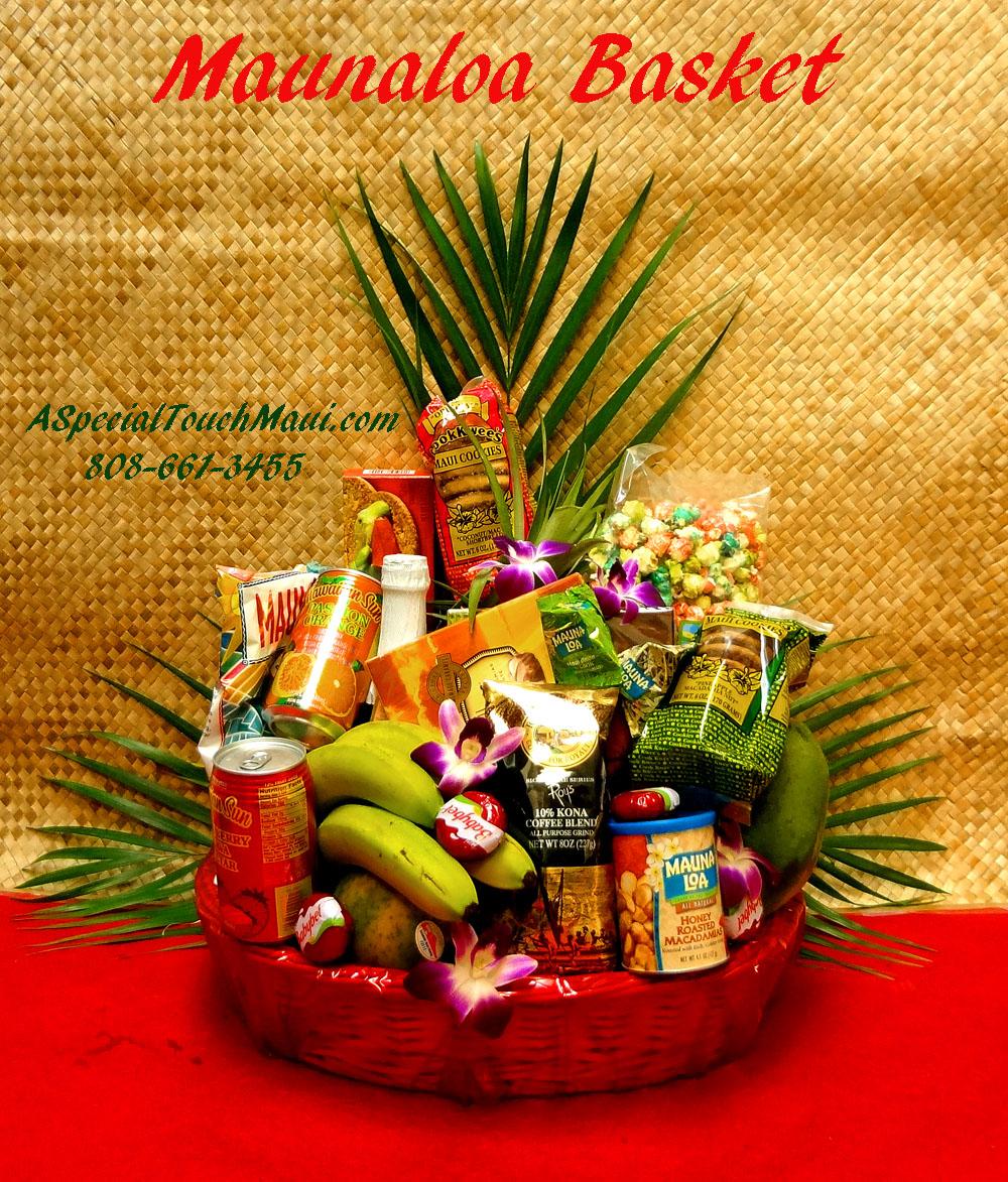 Click Item for Full View( PLEASE ORDER IN ADVANCE) MAUNA LOA - DELUXE HAWAIIAN FRUIT AND HAWAIIAN GOURMET GIFT BASKET. $145.50, A mixture of fresh Hawaiian ...