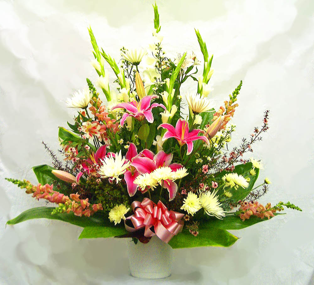 Sympathy flowers a special touch florists serving lahaina and large pink and white sympathy arrangement with stargazer lillies 155advance order may be required izmirmasajfo Image collections